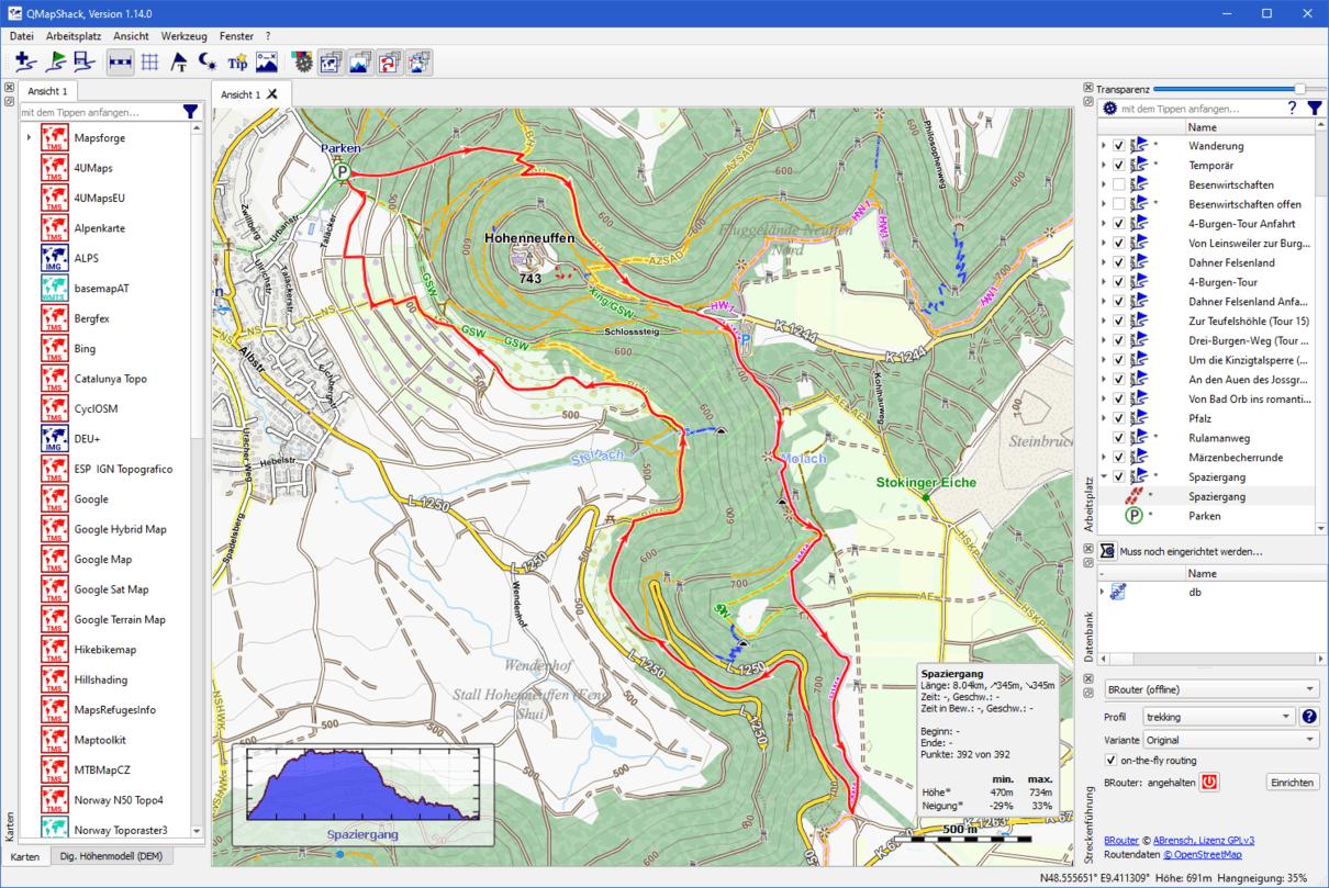 Routenplanung mit OpenAndroMaps Deutschland in QMapShack
